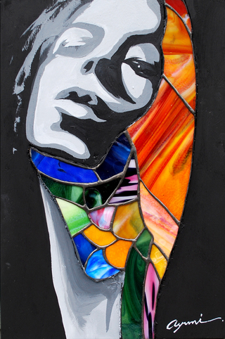『 face × glass 』   41.0×27.2cm / stand glass, acrylic on panel  /  2009