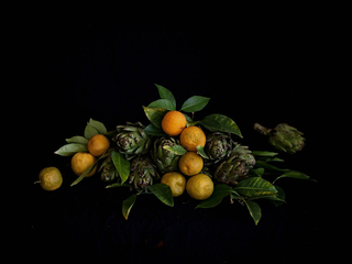 Artichokes and oranges  I love still lives