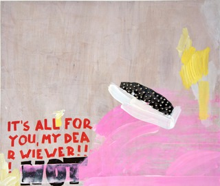 It's All For You, 2013, acrylic, leather, studs on wood, 150 x 180 cm
