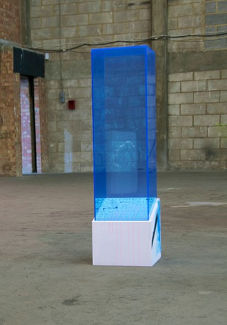 Tight Impulse, 2013, wood, perspex, acrylic, marker, 122 x 30 x 30 cm