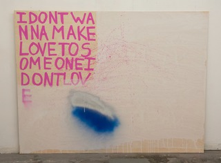 I Don't Wanna Make Love, 2014, acrylic, marker, spray on wood, 120 x 180 cm