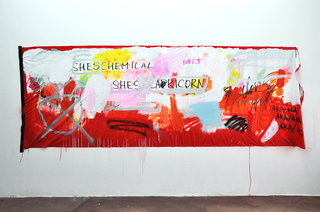 SHES CHEMICAL, 2016, acrylic, spray, tape on latex fabric, 150 x 500 cm